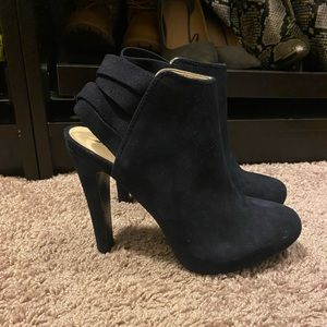 Navy Blue Suede Booties. Brand New!